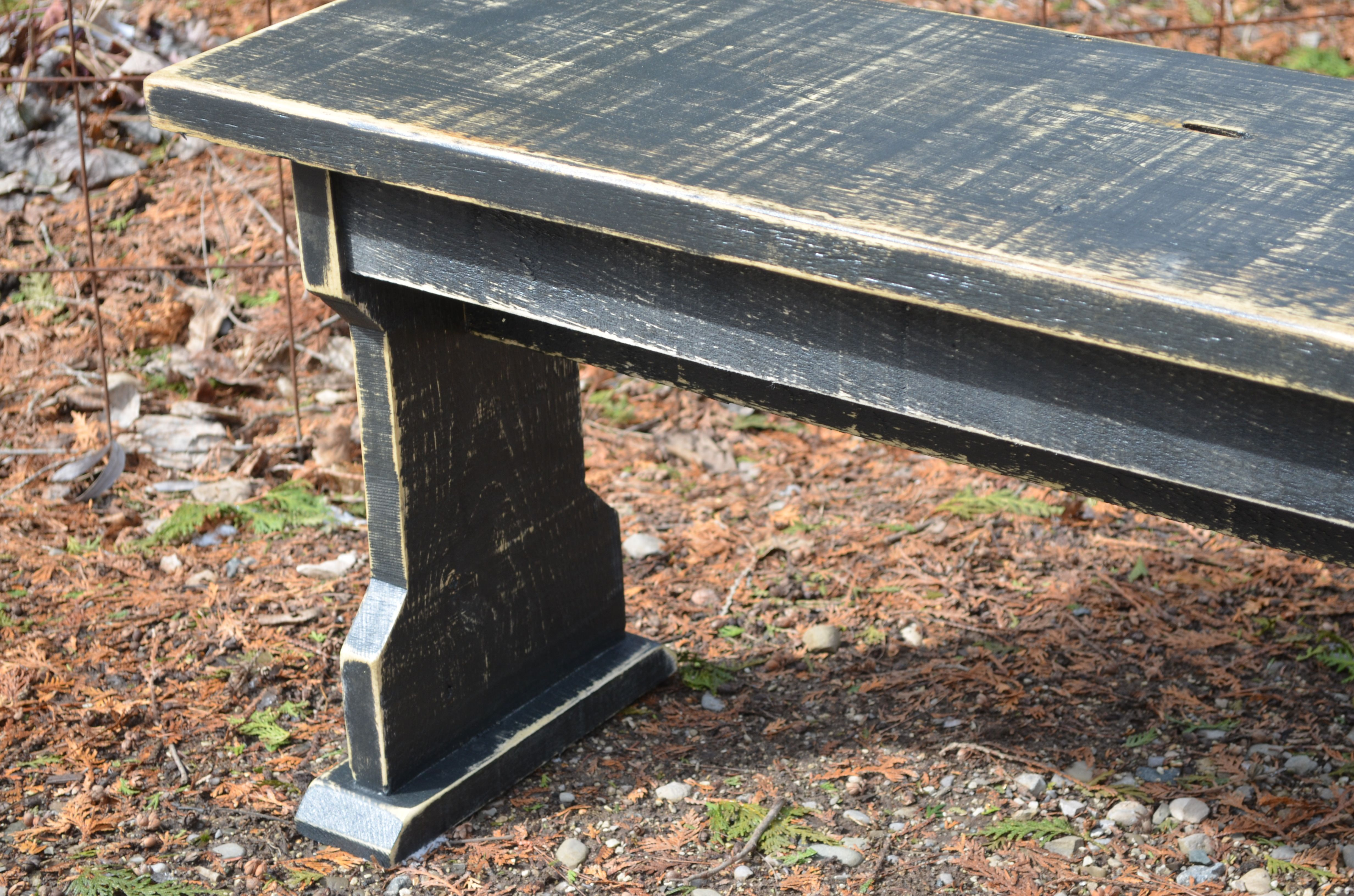 Farmhouse style rustic wood bench painted bench