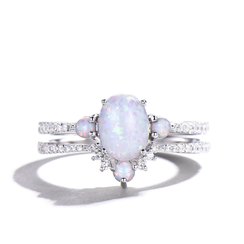 Vintage Opal Bridal Set White Gold and Simulated diamonds