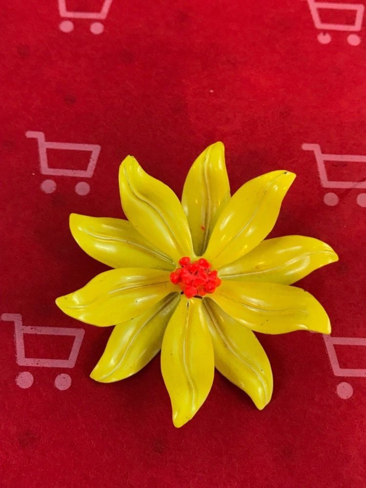 Yellow Flower Orange Center Vintage Brooch Gift Collectible