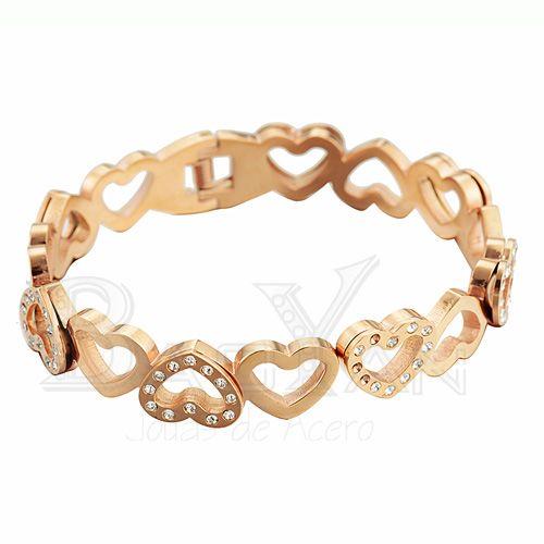 067be1170156 corazones pulseras de oro rosado de bisutería online