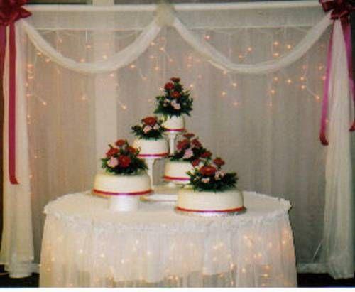 White Wedding Cake Above The Table Wedding Cake Table Decorations Wedding Cake Table Wedding Cake Decorations
