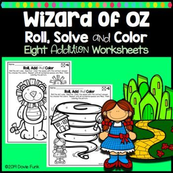 Wizard of Oz Math Coloring Worksheets Addition Roll Solve ...