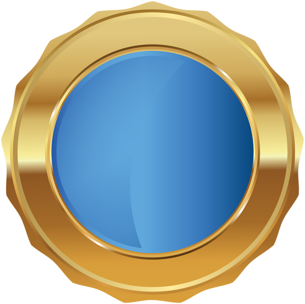 Gold Blue Seal Badge PNG Transparent Clip Art Image