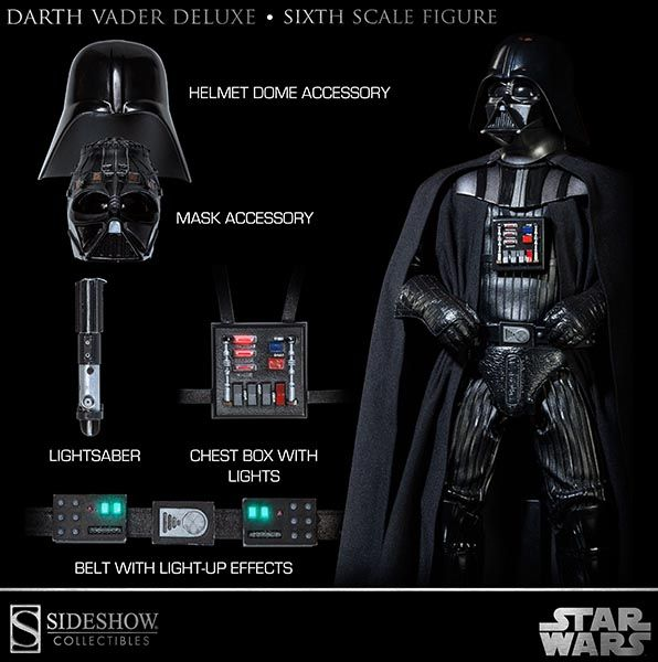 Sideshow 1//6 Darth Vader Body with Suit from Return of the Jedi Deluxe Figure