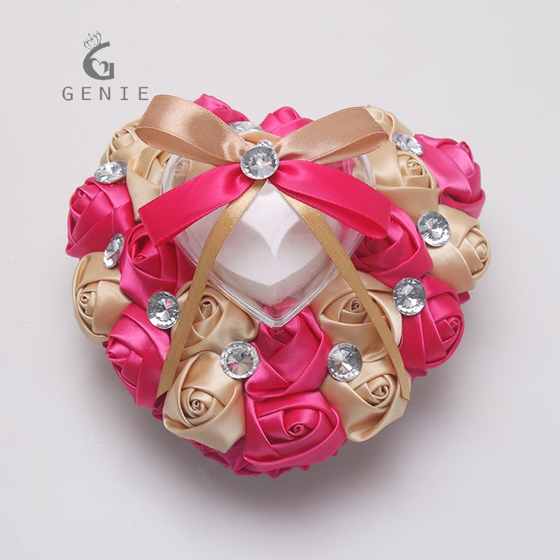 5d2ab9a1f3 Genie Wedding Events Decoration Ring Pillow Heart Shape with Music Box  Artificial Flowers Silk Rose Rhinestones Decor Cushions
