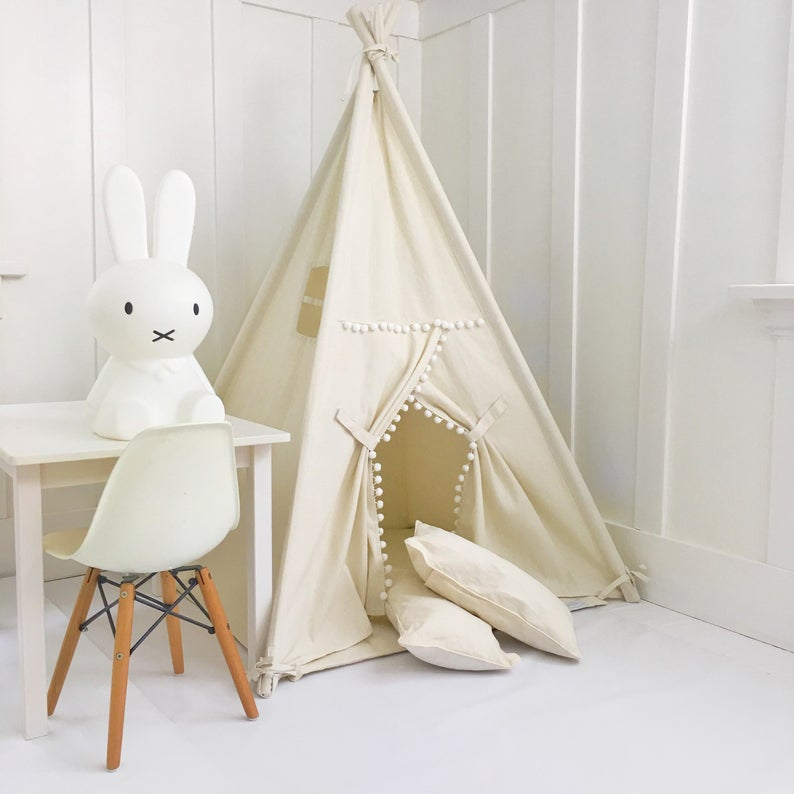 Each Comes with Padded Mat Base Children/'s Play Tent,Teepee Handmade for Kids in Natural Canvas with Pom Pom Trim