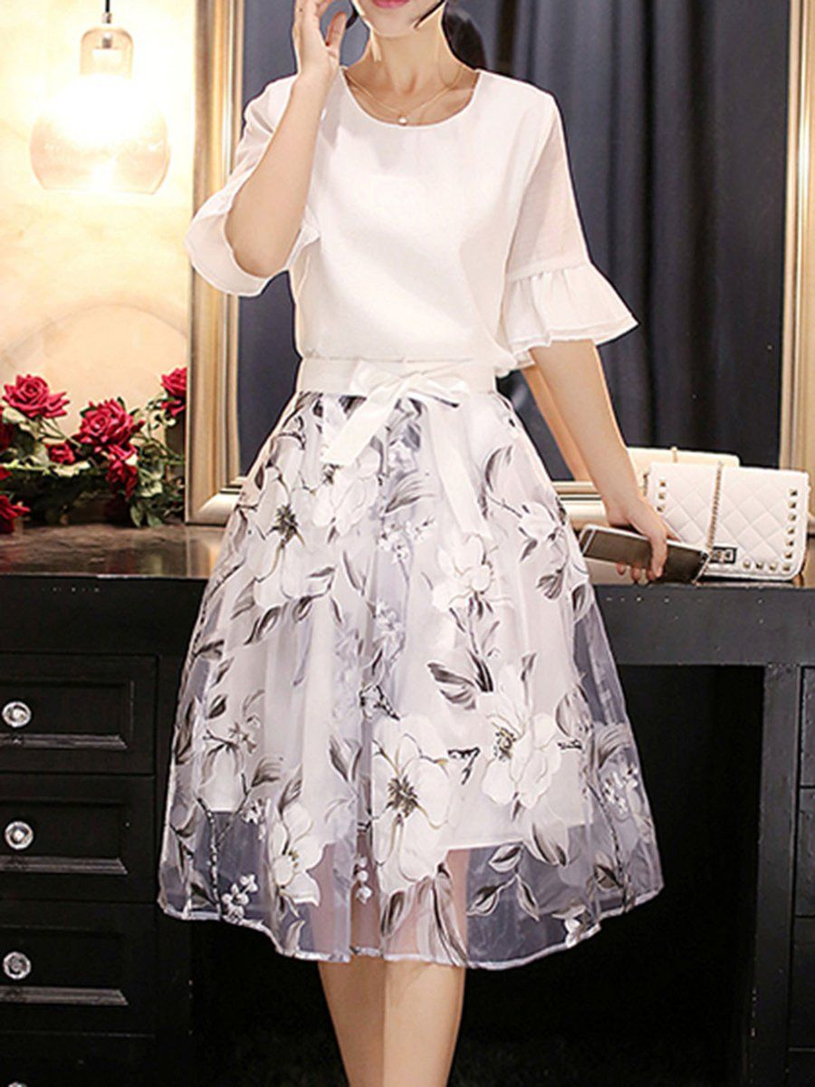 d30466681e Tienda Elegante Vestidos - Blanco Bell manga Impreso vestido elegante en  línea. Descubre la moda de diseñadores únicos en justfashionnow.com.