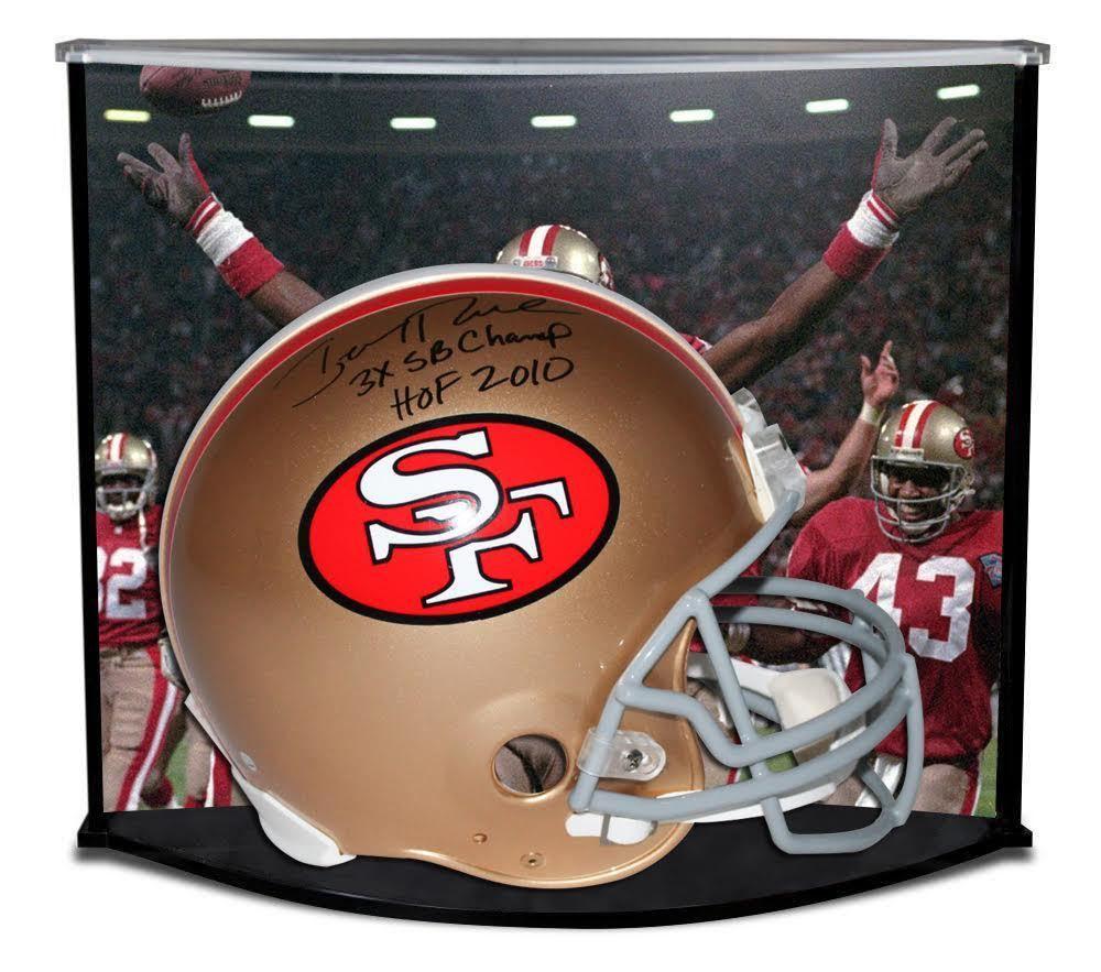 3de23141b JERRY RICE Autographed   Inscribed San Francisco 49ers Proline Helmet w   Custom Designed Curve Display STEINER LE 80 - Game Day Legends