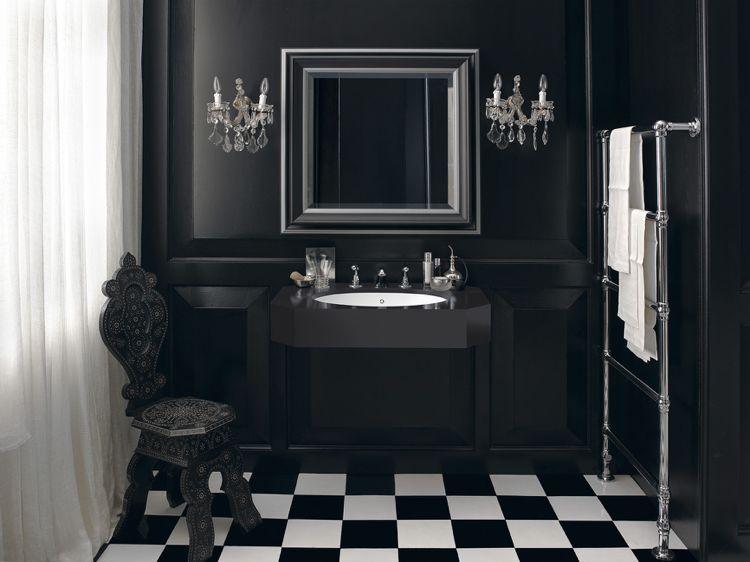 Design Handwaschbecken Badezimmer Retro Barock Edel Luxus Schwarz Weiss # Badezimmer #bathroom #ideas