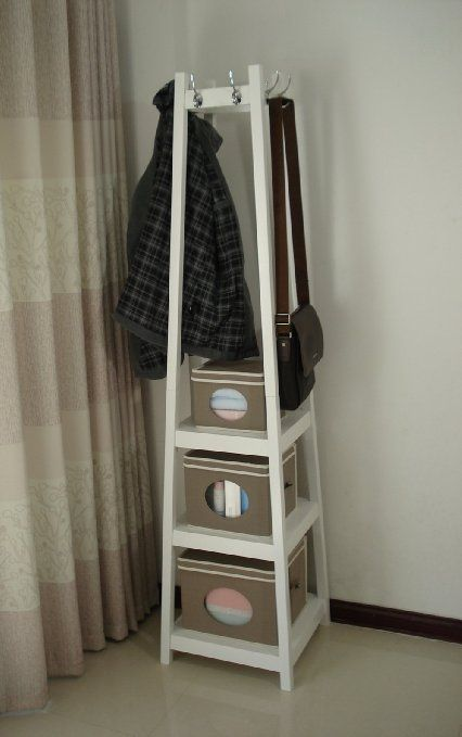 Free Postage Wooden Coat Rack Stand With Storage Shelves White Hc