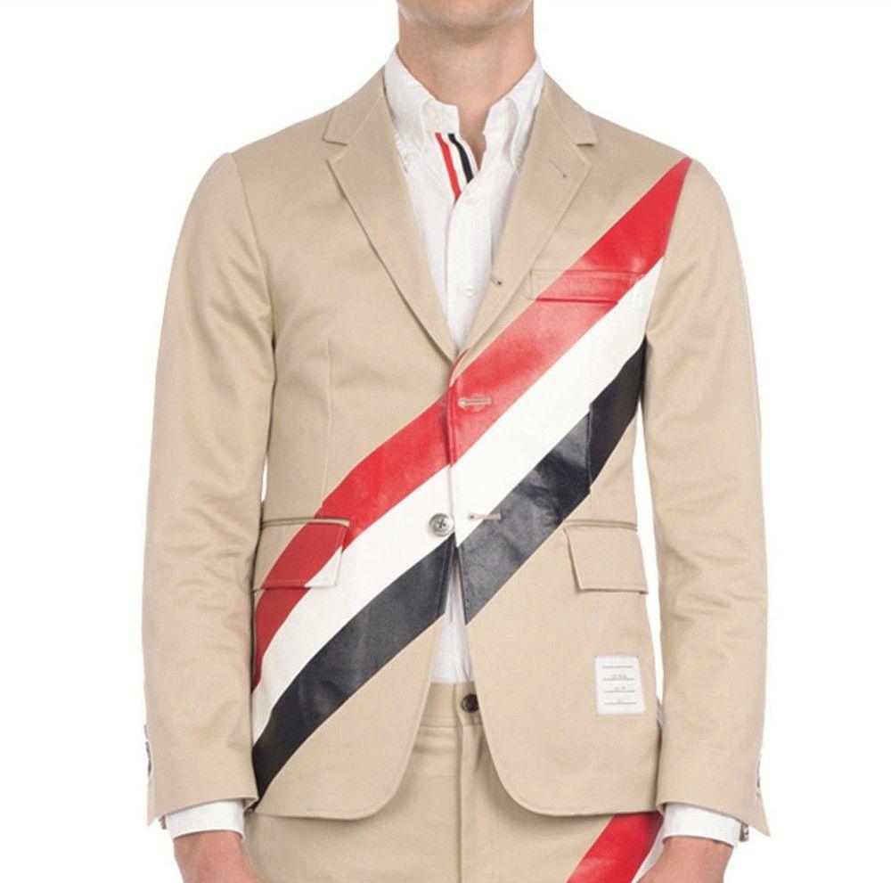 THOM BROWNE diagonal stripe slim fit cotton khaki sport