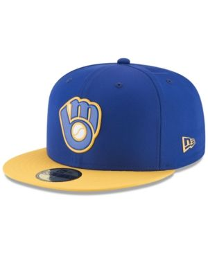 dc895812a68 New Era Boys  Milwaukee Brewers Batting Practice Prolight 59FIFTY Fitted Cap  - Blue 6 3 4