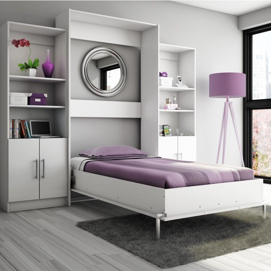 purple white murphy bed with desk on grey shag rug and