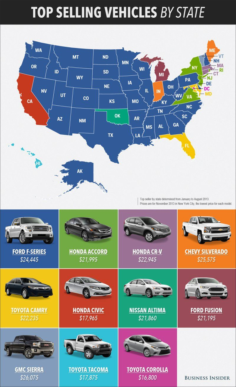 Map The Best Selling Car In Every State Map Usa Map State Map