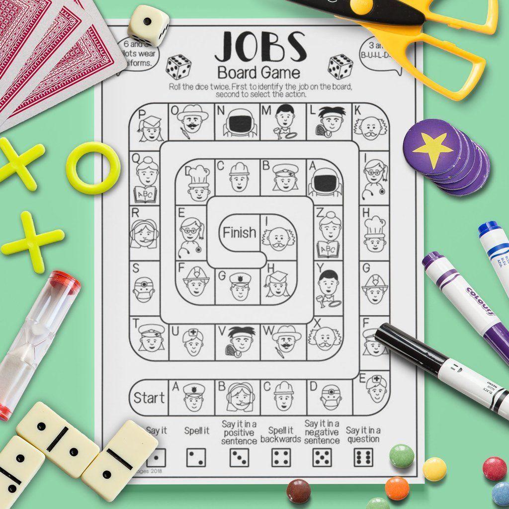 Esl Kids Jobs Board Game Speaking Activity Worksheet