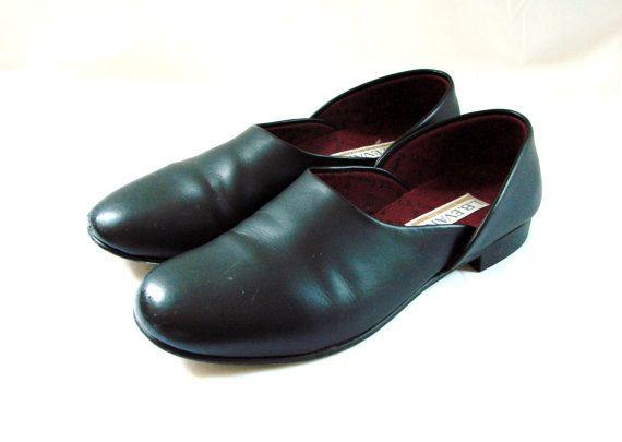 Mens Slippers Vintage 90s Retro Mens Black Slippers Etsy Mens Slippers Black Slippers Slippers