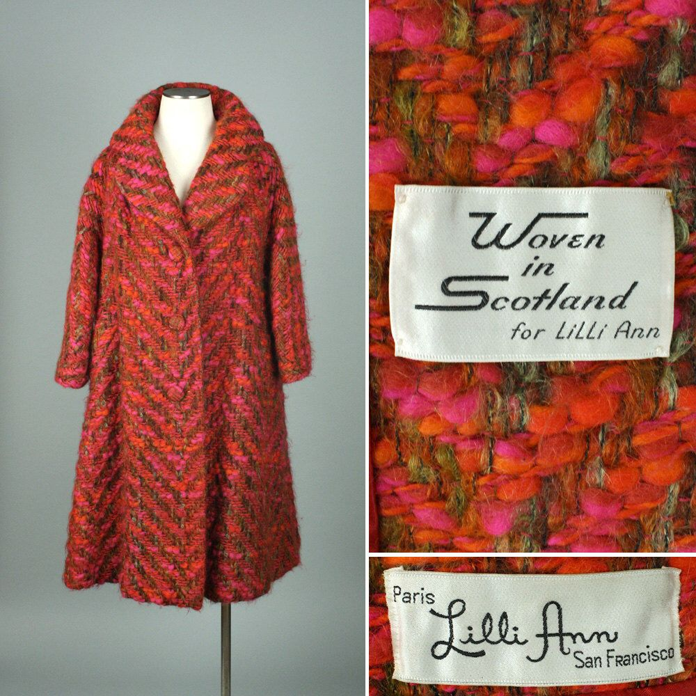 vintage 1950s LILLI ANN coat • textured pink red & orange swing coat by LivingThreadsVintage on Etsy https://www.etsy.com/listing/268813431/vintage-1950s-lilli-ann-coat-textured