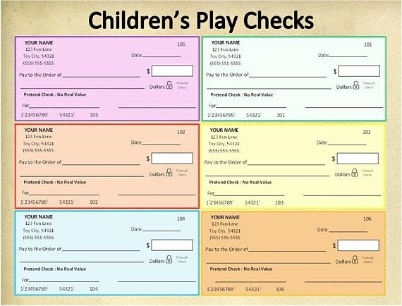 picture regarding Printable Fake Checks referred to as Custom made Printable Childrens Participate in Tests~Bogus Assessments