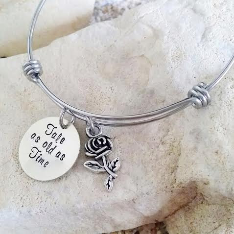 Bangle Bracelet Disney Beauty And The Beast Hand Stamped Jewelry Tale As Old Time Stocking Stuffer Christmas Gift