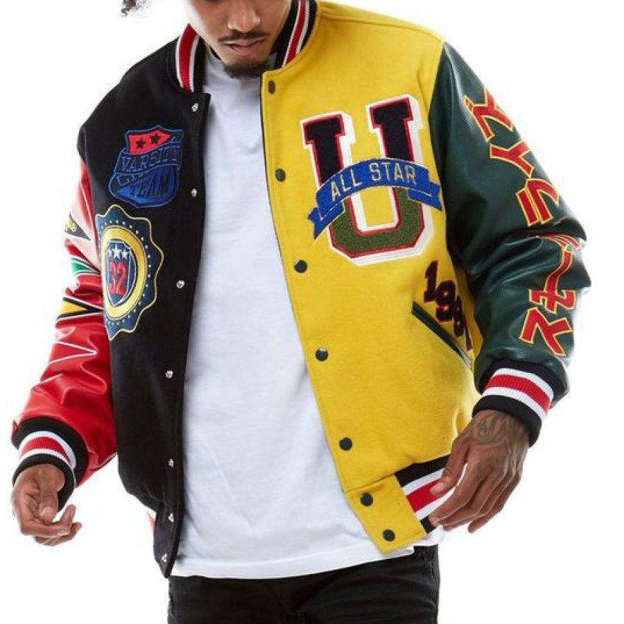 Men S Modern Casual Printed Color Long Sleeve Jacket Ootdmw Com In 2021 Varsity Jacket Outfit Varsity Jacket Varsity Jacket Men [ 900 x 900 Pixel ]