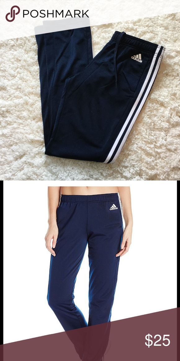 22f9e63e NWT Adidas Women's Athletic Pants 🌟NEW WITH TAGS🌟 Adidas Women's Athletic  Pants ▫️Size Small ▫️Navy w/White Stripes ▫️100%Polyester adidas Pants ...