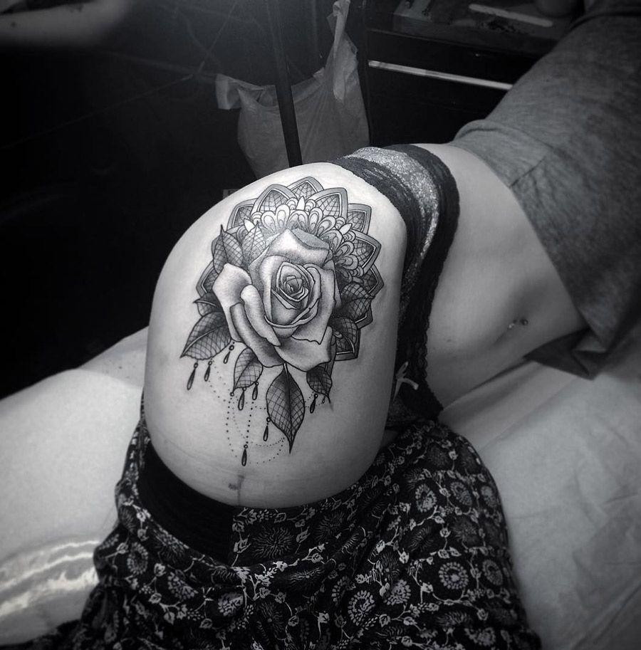 rose on laced mandala httptattooideas247comrose on