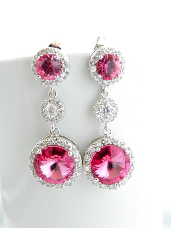 Hot Pink Bridal Jewelry Swarovski Wedding Earring Fuchsia Drop Crystal Statement Art Deco