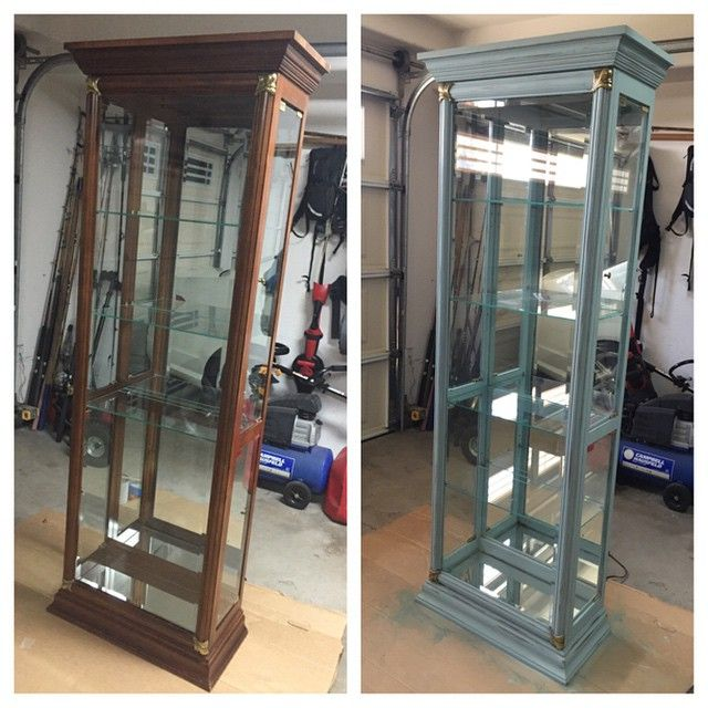 Wonderful CURIO CABINET... New Life With Annie Sloane Duck Egg Blue #chalkpaint #