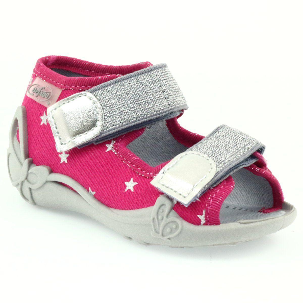 Befado Buty Dzieciece Sandalki Kapcie 242p085 Szare Rozowe Childrens Shoes Childrens Slippers Kid Shoes