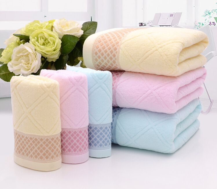 Superior 3pcs Diamond Plaid Bath Towel Set 100 Cotton  Nice Ideas