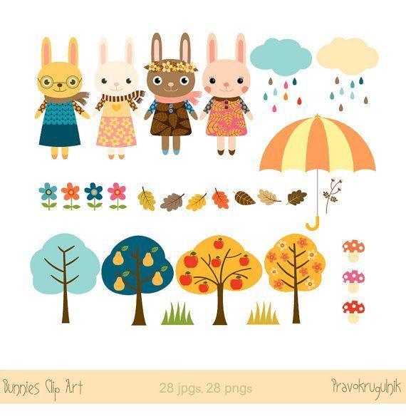 Nursery art animals clip art Easter bunny clipart Autumn