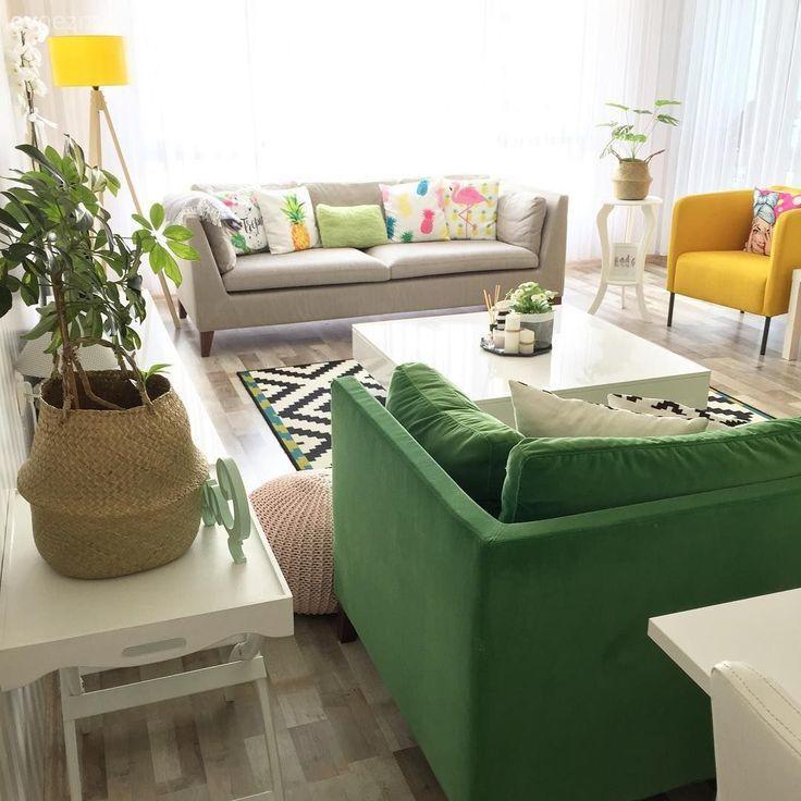 Wohnzimmer, Grau, Kissen, Gelb, Stehlampe, Blumenbeet, Zimmerpflanze