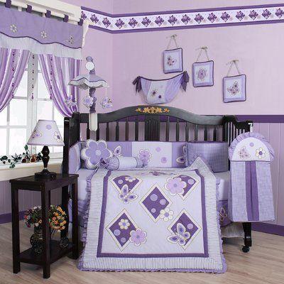 Crib Bedding Sets Baby Girl, Purple Elephant Mini Crib Bedding