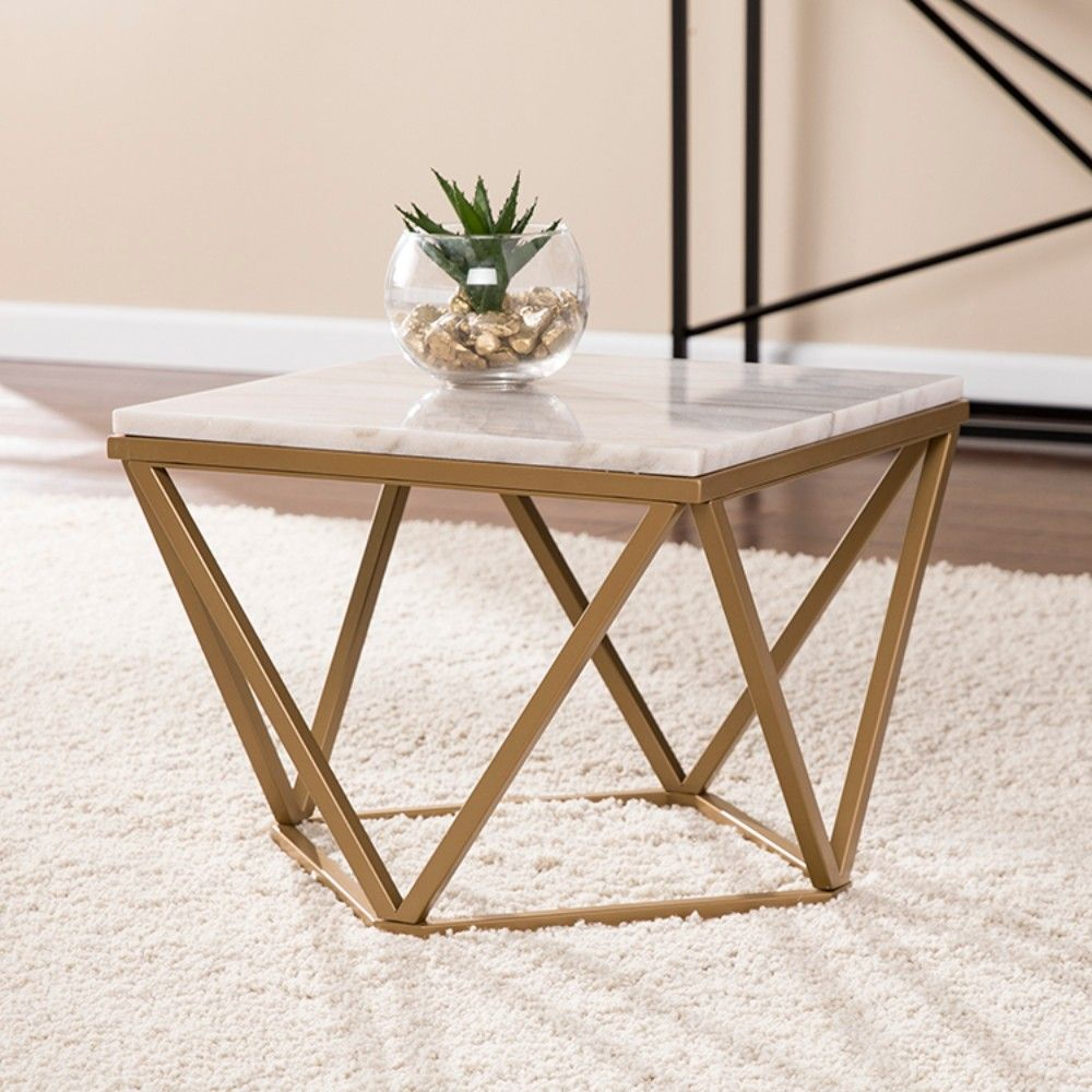 Marklin Marble Accent Table In Champagne W Ivory Marble