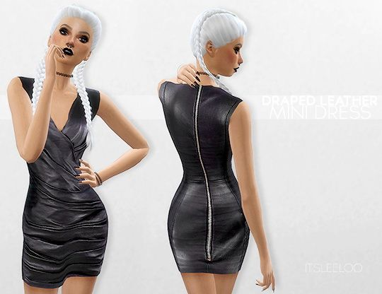 DRAPED LEATHER MINI DRESS at Leeloo • Sims 4 Updates