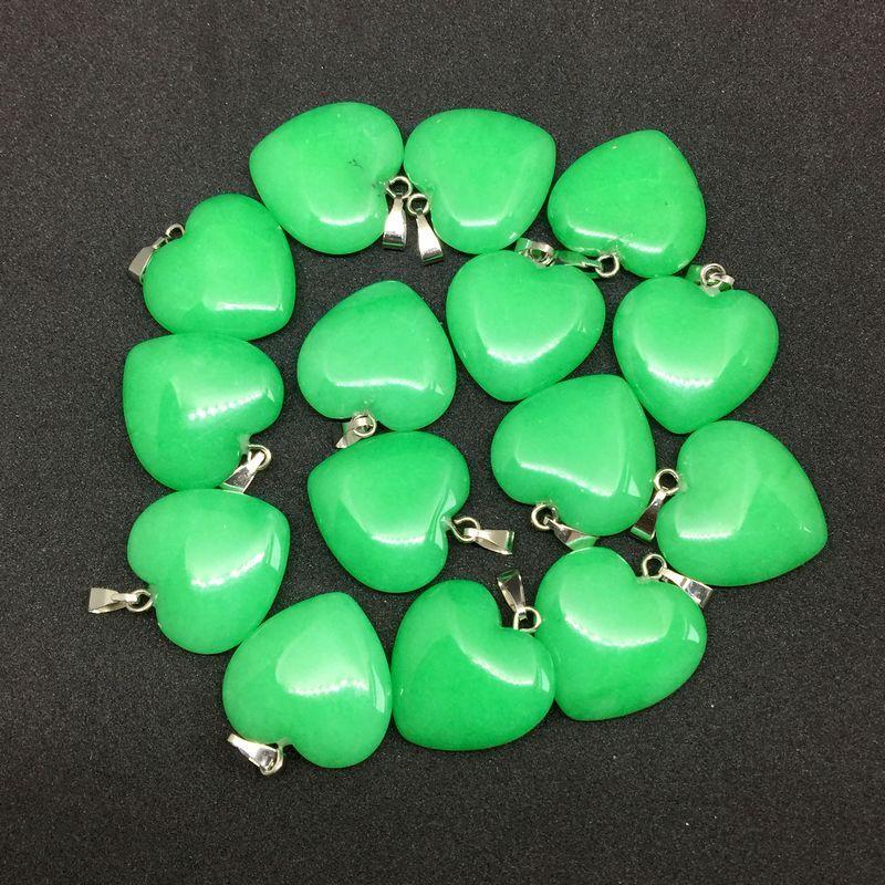 Wholesale Natural Stone Heart Pendant Jewelry Stone Bead Charm; Green Jade Pendant, DIY Silver Jewelry Amethyst 20 Kinds Stones