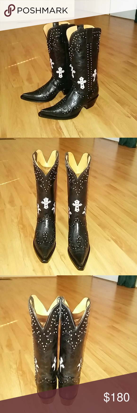 82b1bca510e74 Cowboy boots Brand new overralls black cowboy boots in their original box  Shoes