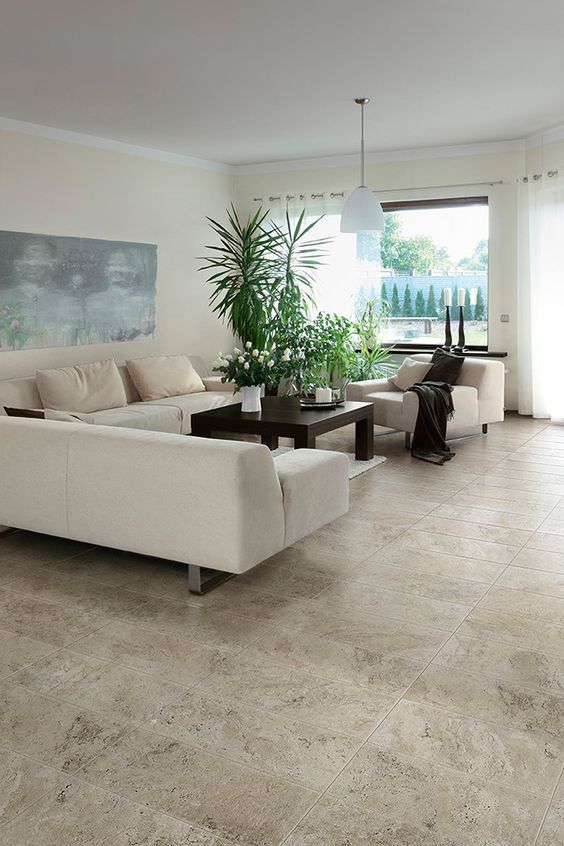 Living Room Floor Tiles Design Mesmerizing Simple Dining Room Design In Neutral Colors With Travertine Tiles Decorating Design