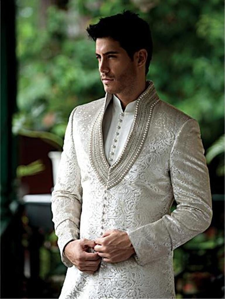 men new fashion designer wedding groom indowestern