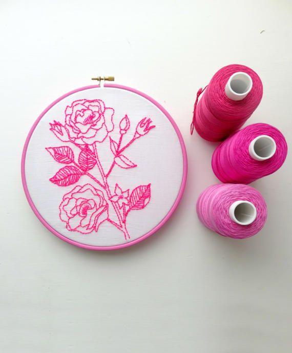 Vintage rose. Pre impreso tela. Patrón de bordado. Arte de | Bordado ...