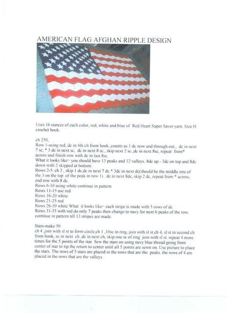 American Flag Afghan Ripple Design. Very easy flag with 50 stars ...