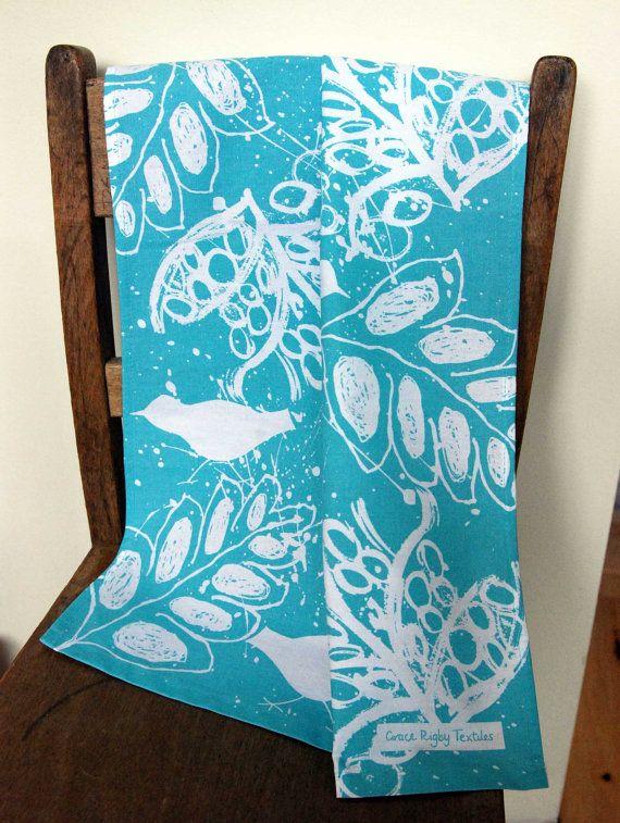 Birds and Leaves Screen Printed Tea Towel in by GraceRigbyTextiles