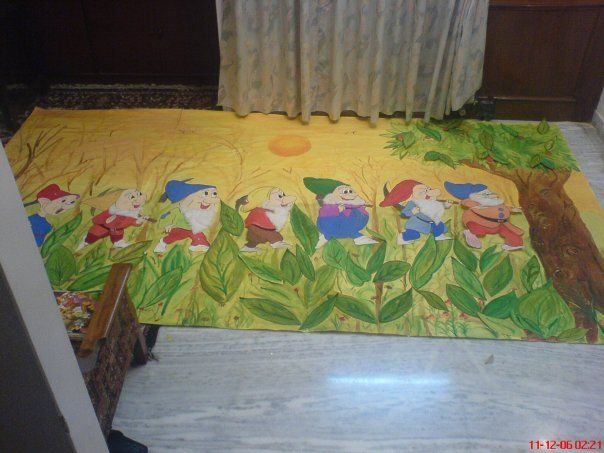 A 3D Seven dwarfs poster made for a children's toy exhibition in Agra, India
