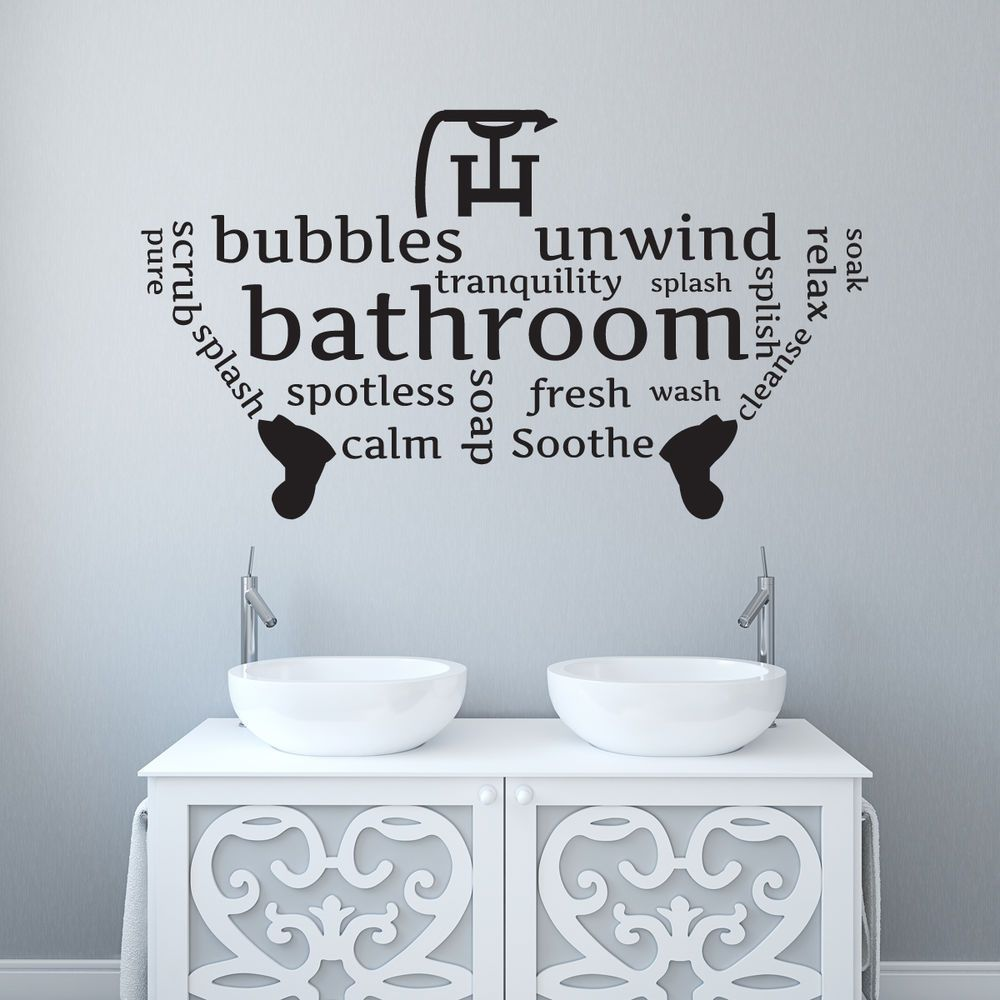 BathroomToilet Wall Sticker Word Cloudword Montage Vinyl Decal - Toilet wall stickers