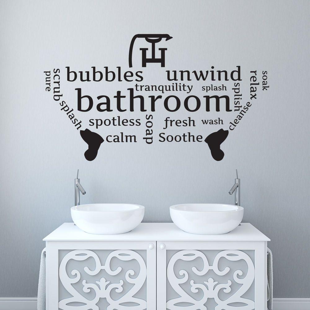 Bathroom Toilet Wall Sticker Word Cloud Word Montage Vinyl Decal