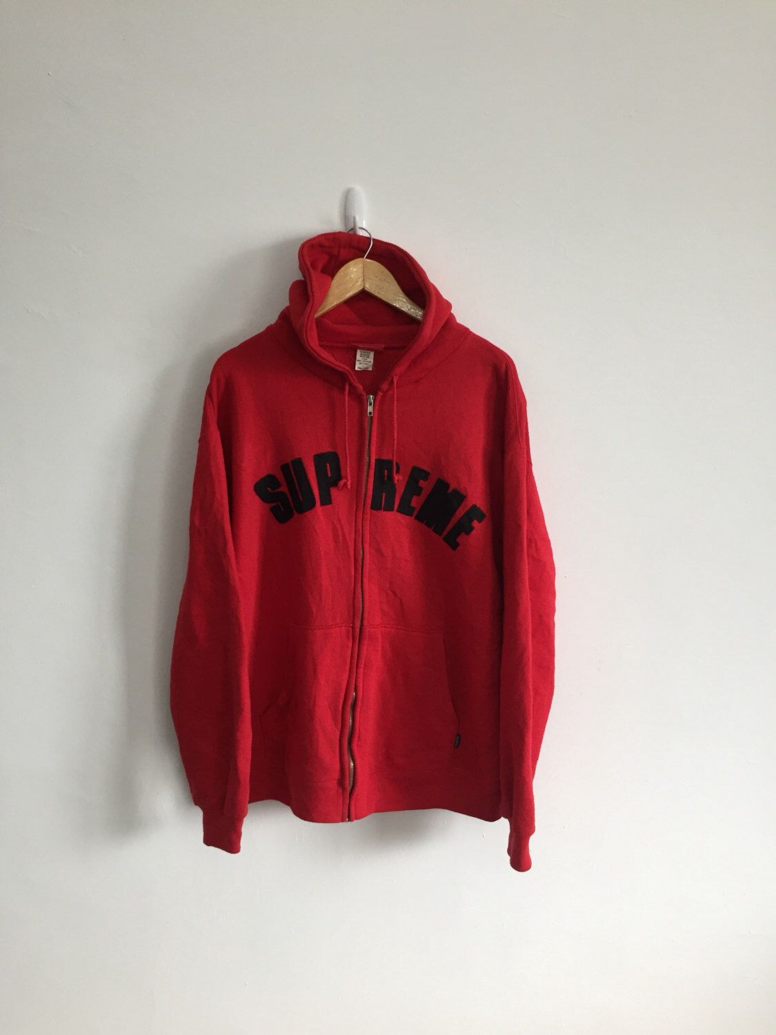 Rare Vintage Supreme Spell Out Red Hoodie Zipper Sweater Sweatshirt Made In Usa Armpit 24 X28 5 Rare Hip Hop Rap Zippered Sweater Red Hoodie Sweater Sweatshirt
