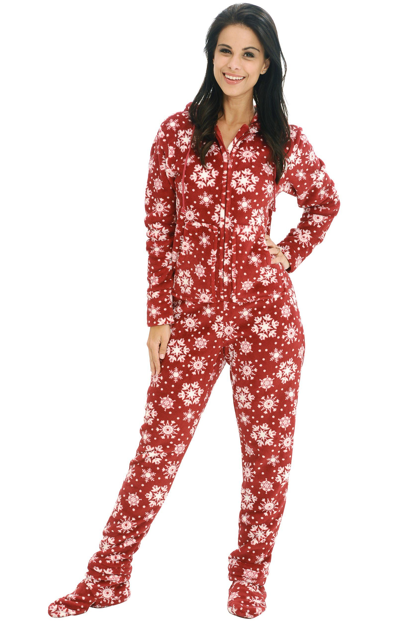 5a6529fca565 Del Rossa Women s Fleece Hooded Footed One Piece Onesie Pajamas ...