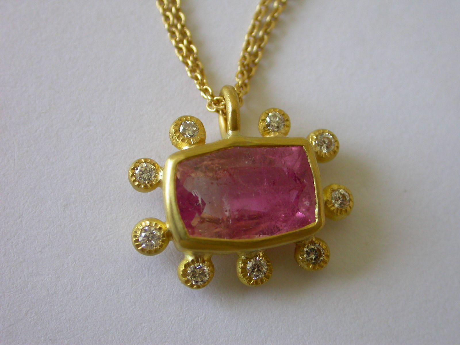 Pamela hararis pink tourmaline and diamond pendant set in 22k gold pamela hararis pink tourmaline and diamond pendant set in 22k gold aloadofball Images
