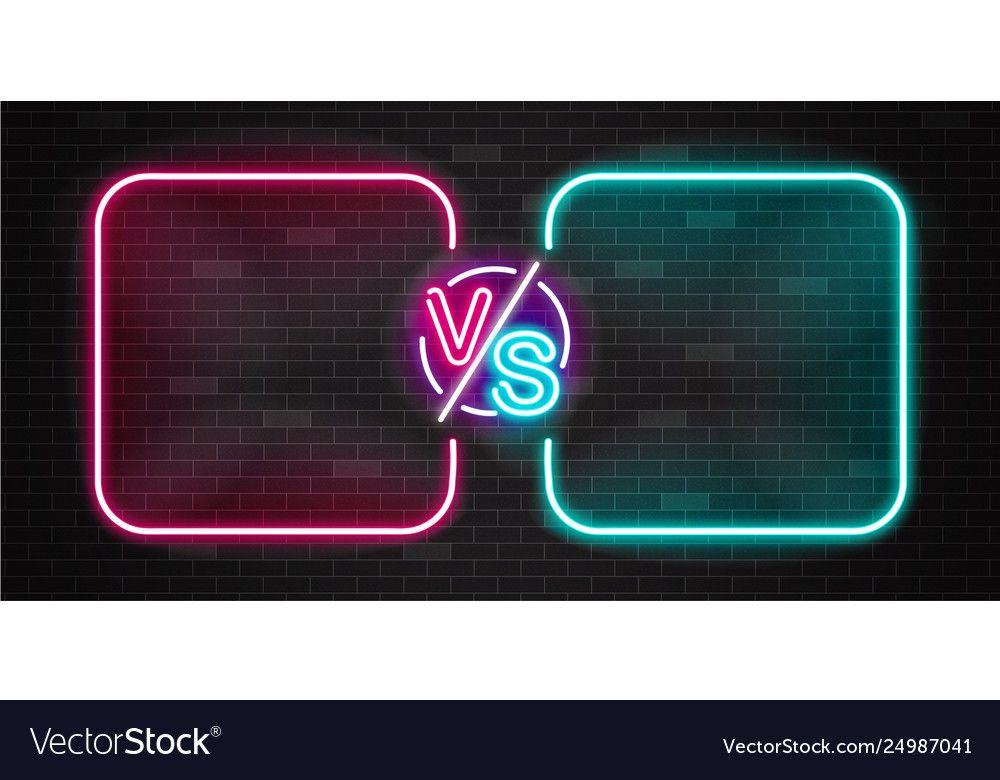 Neon screen and banner versus battle glow pink vector