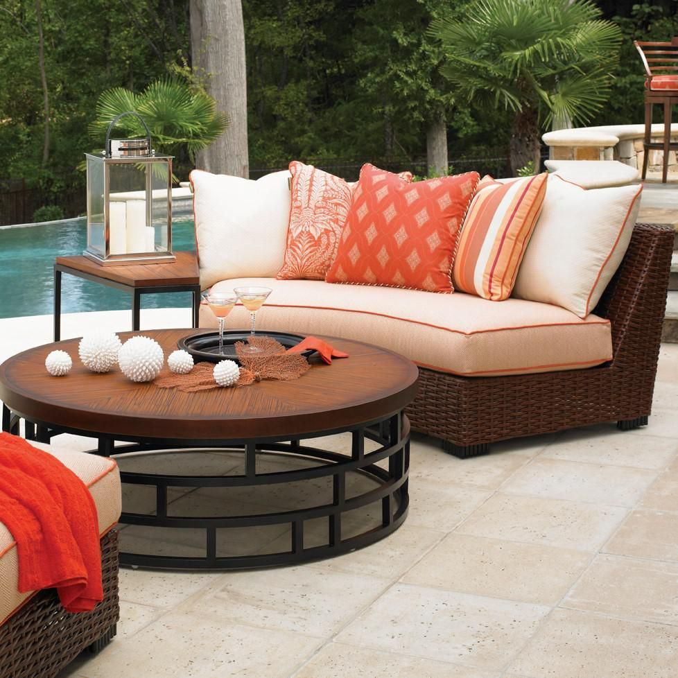 Tommy Bahama Ocean Club Pacifica Wicker Patio Armless Curved Sofa
